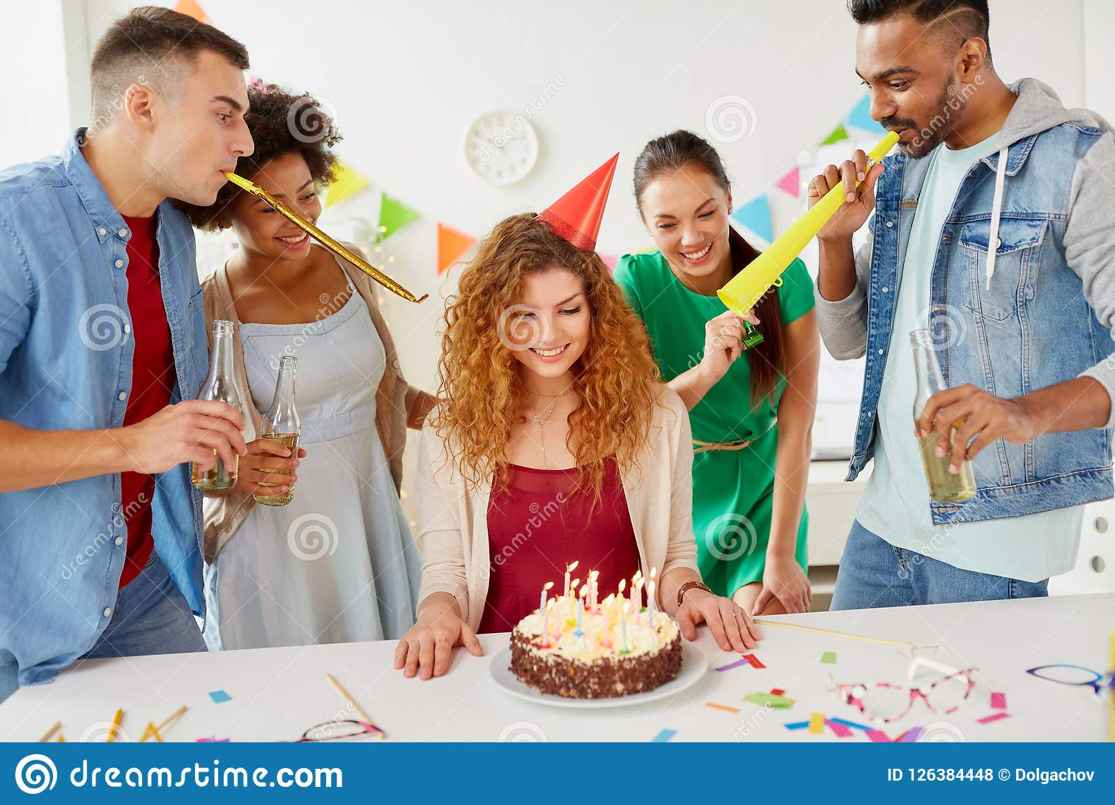 Awe Inspiring Happy Coworkers With Cake At Office Birthday Party Stock Photo Personalised Birthday Cards Epsylily Jamesorg