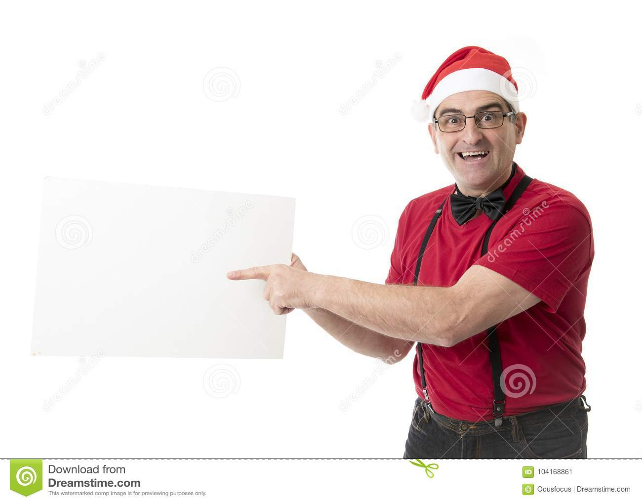 Funny 40s To 50s Crazy Sales Man In Santa Christmas Hat With Bo