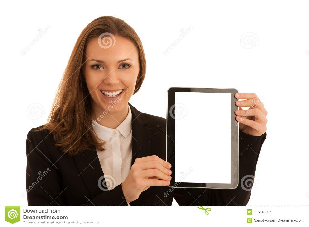Corporate portrait of young beautiful caucasian business woman s