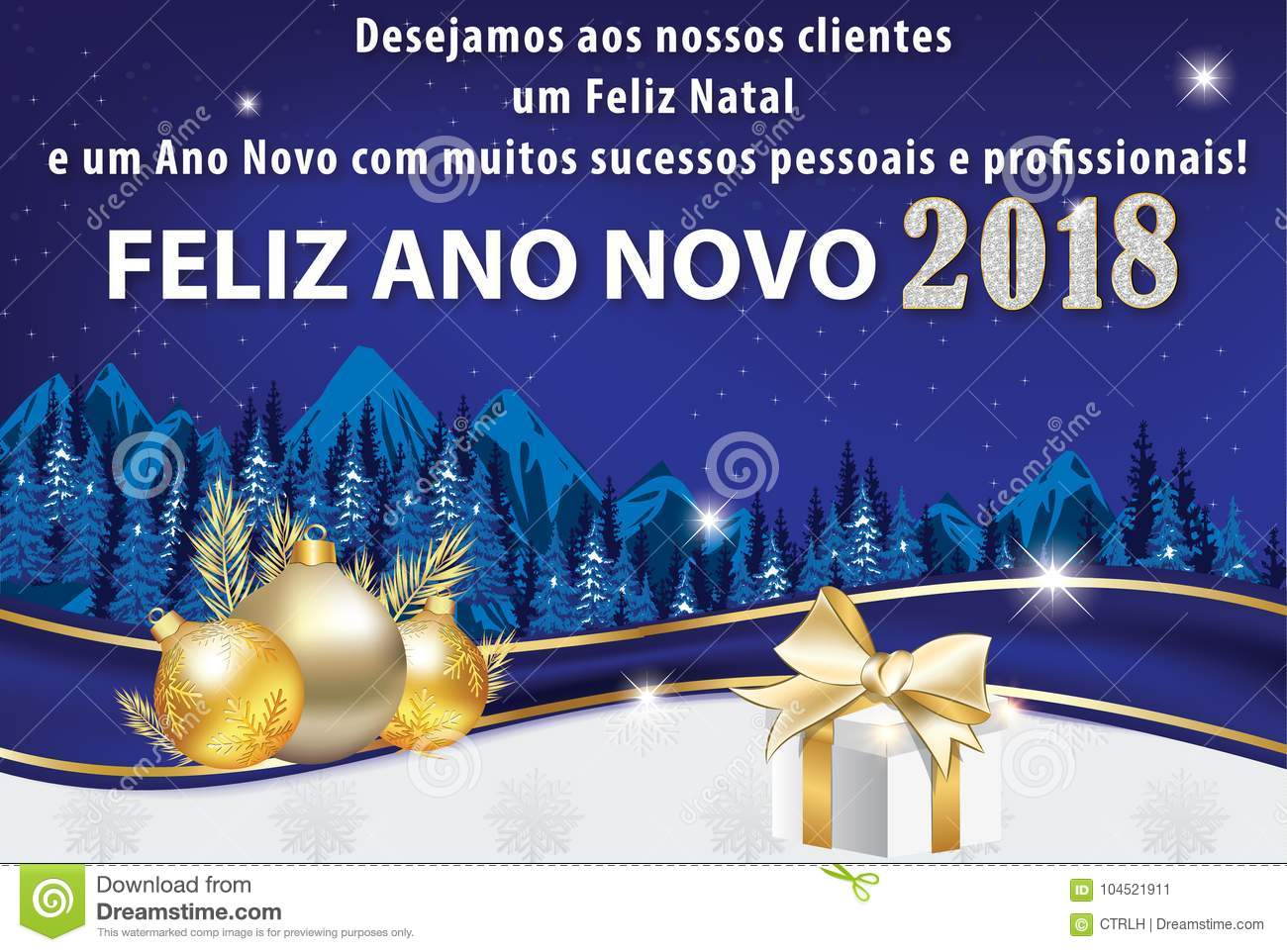 Corporate Holiday Season Greeting Card Designed For Portuguese