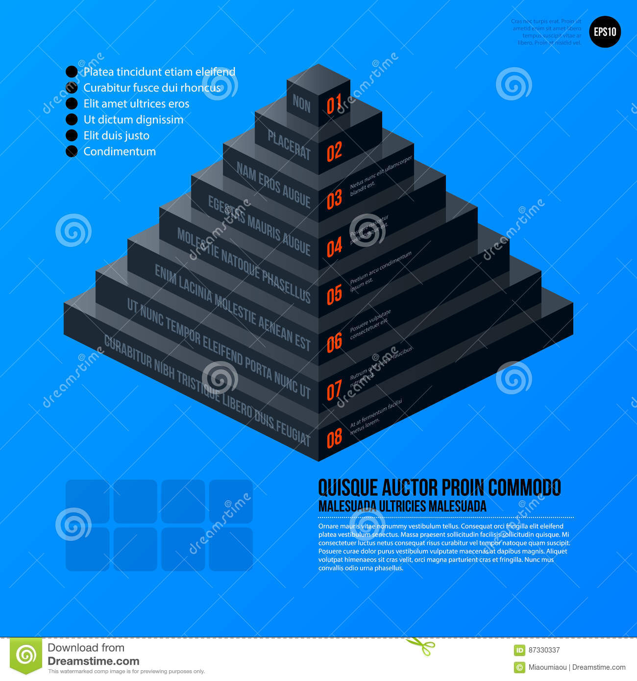 Corporate Pyramid Chart Template On Bright Blue Background Stock Diagram Business Useful For Presentations And Advertising