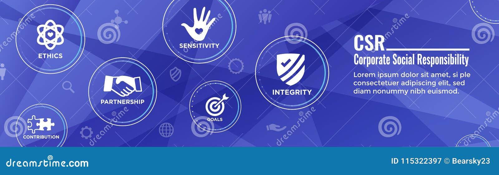 Social Responsibility Header Web Banner w Honesty, integrity, collaboration, Web banner header
