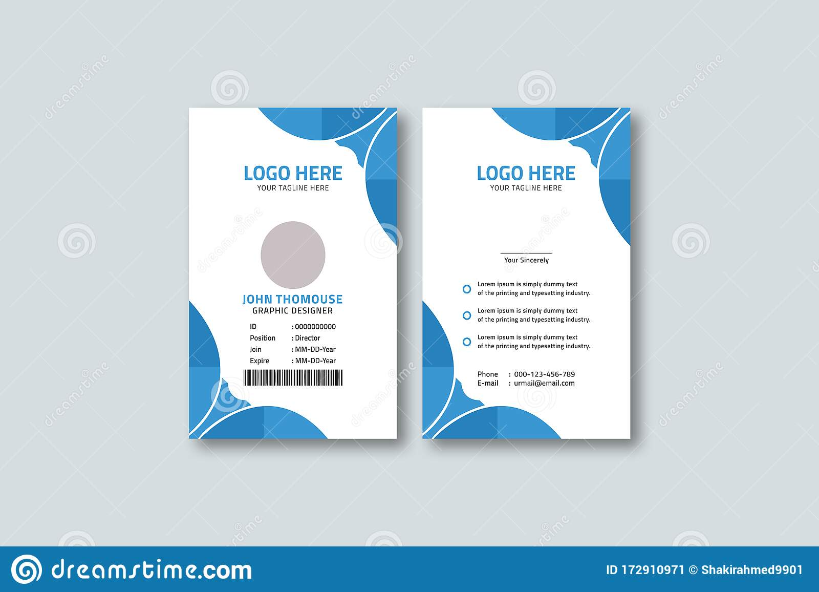 Corporate Vertical Blue Id Card Template Design Stock Vector Illustration Of Office Form 172910971