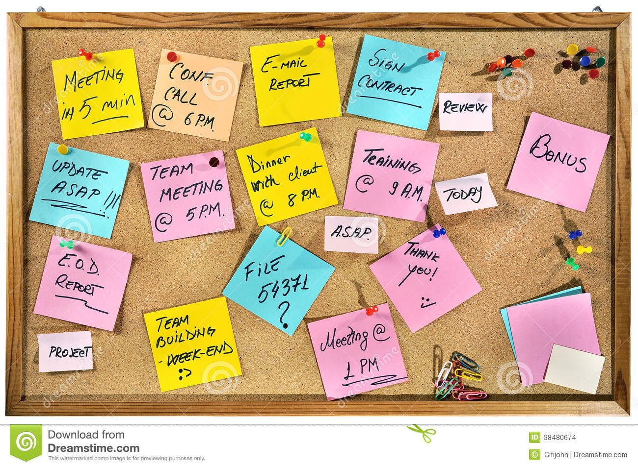 Great Download Corporate Words Written On Paper Notes On A Cork Message Board.  Stock Photo