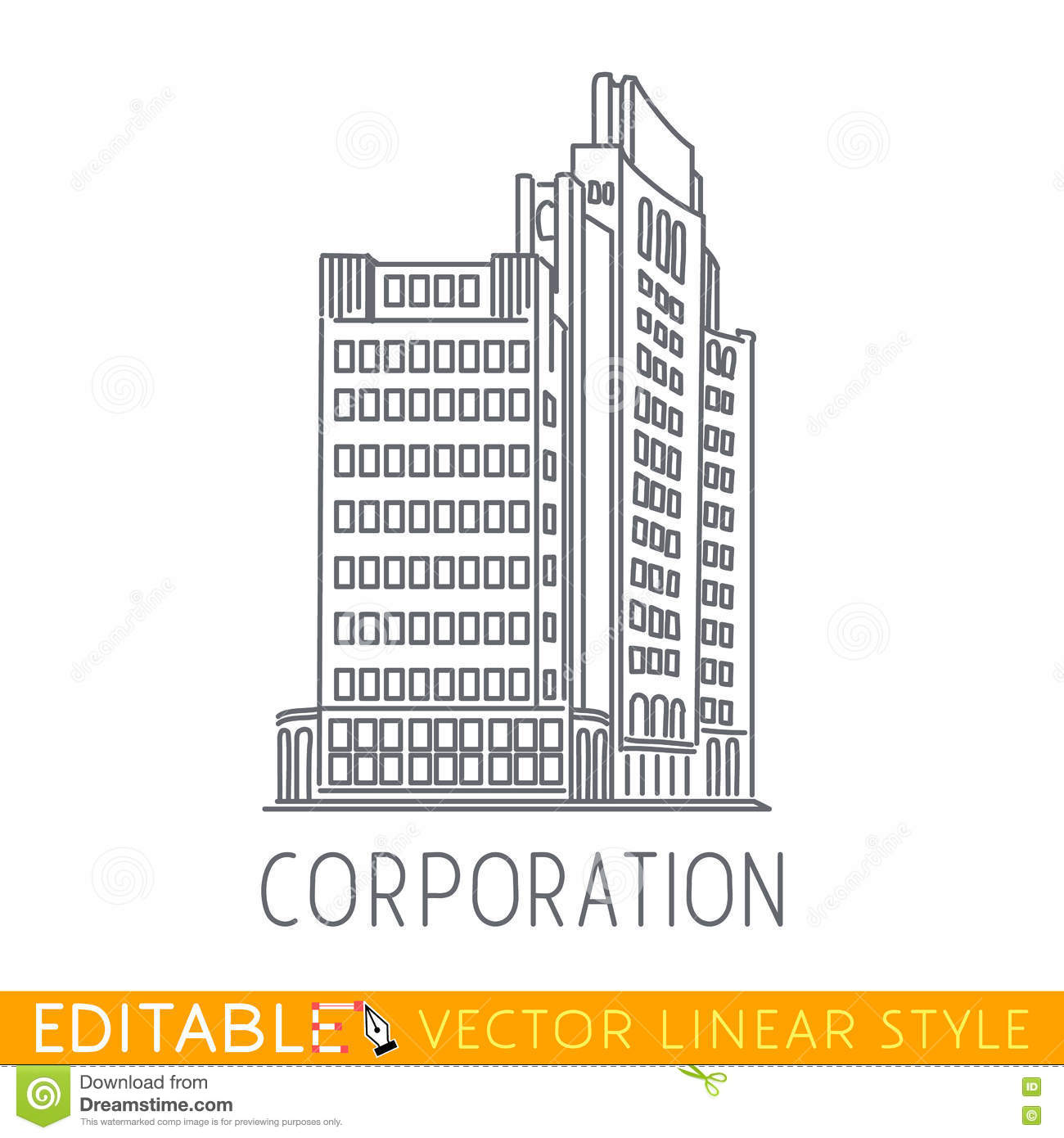 Corporation building of big company commerce for Architecture company