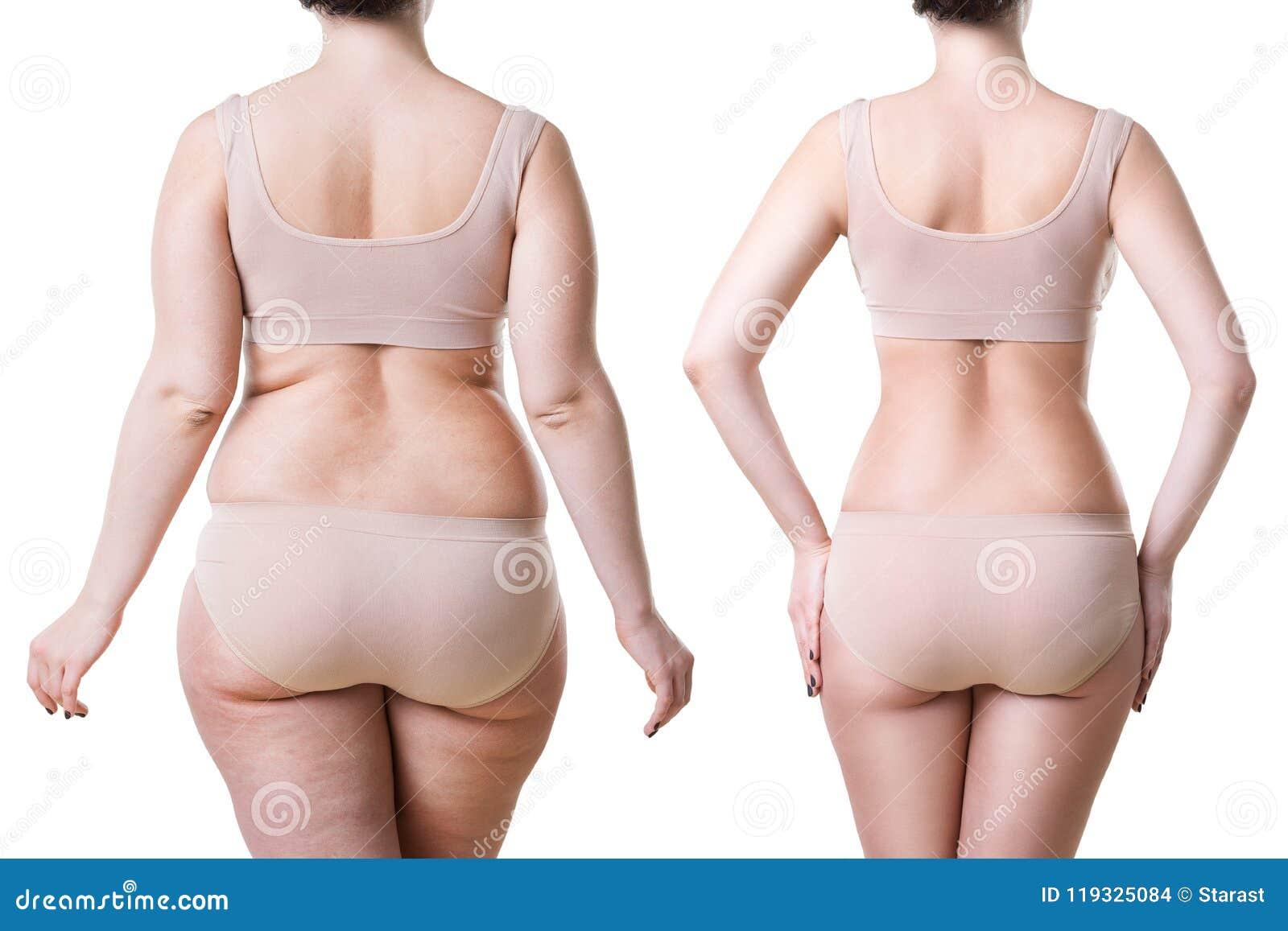 Corps du ` s de femme avant et après la perte de poids d isolement sur le fond blanc