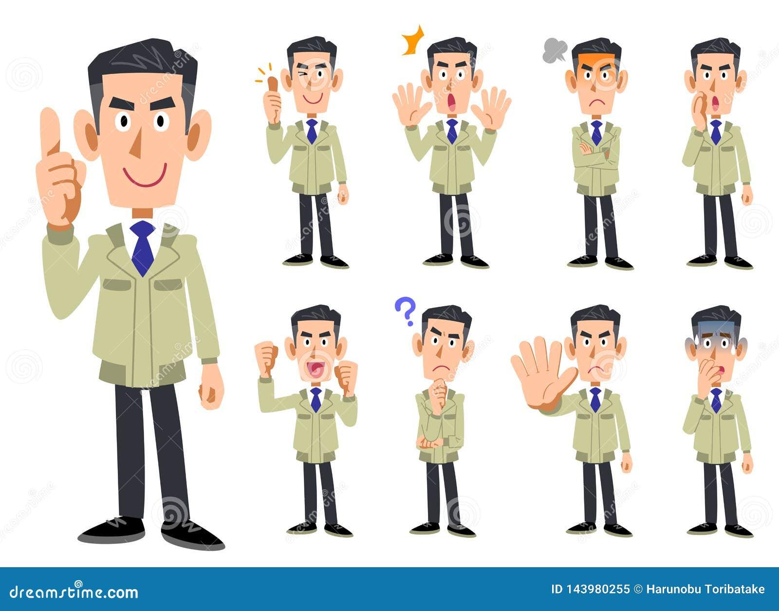 Corps supérieur d un homme portant des vêtements de travail 9 ensembles d expressions du visage et de gestes 2