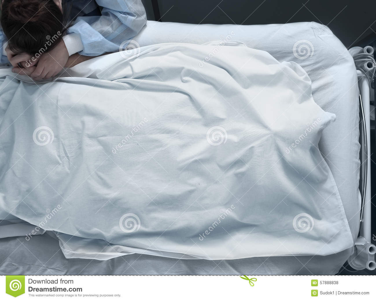 Corpse In A Hospital Bed Covered With A Head And Suffering -5949