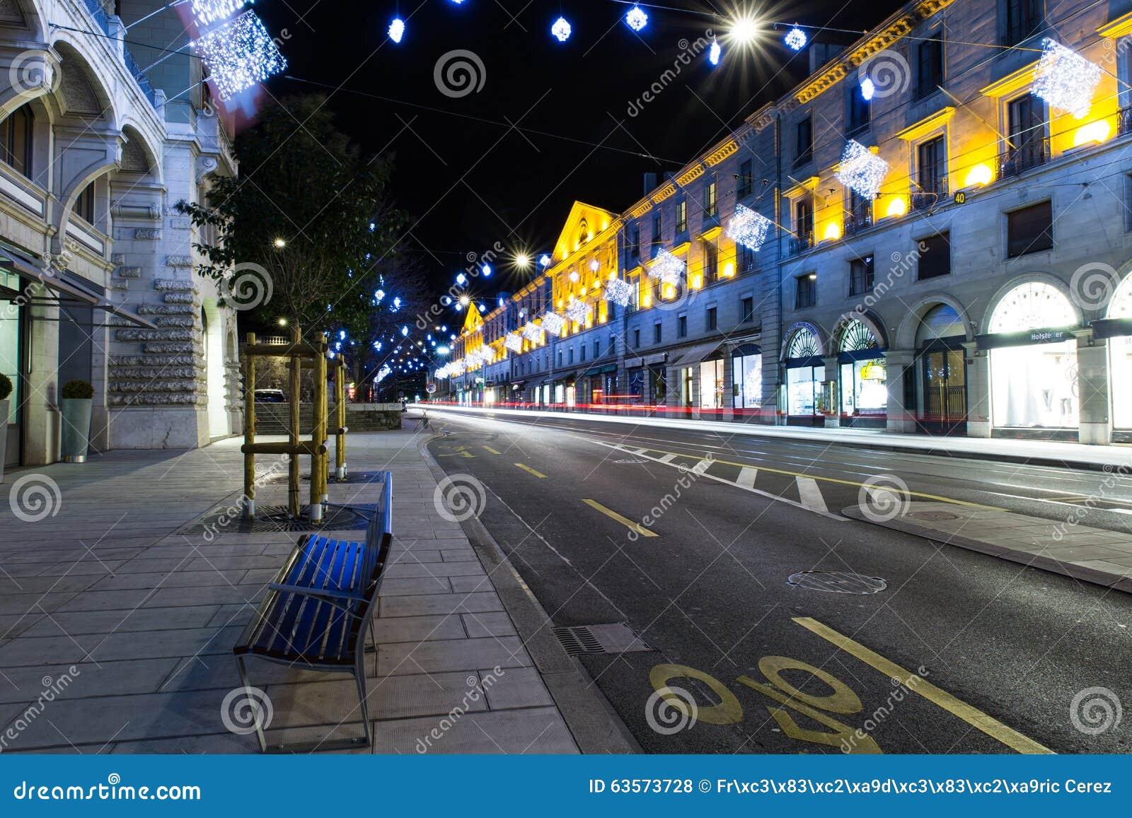 #C0A50B Corraterie Street At Night Editorial Stock Photo 5545 decorations noel geneve 1300x957 px @ aertt.com