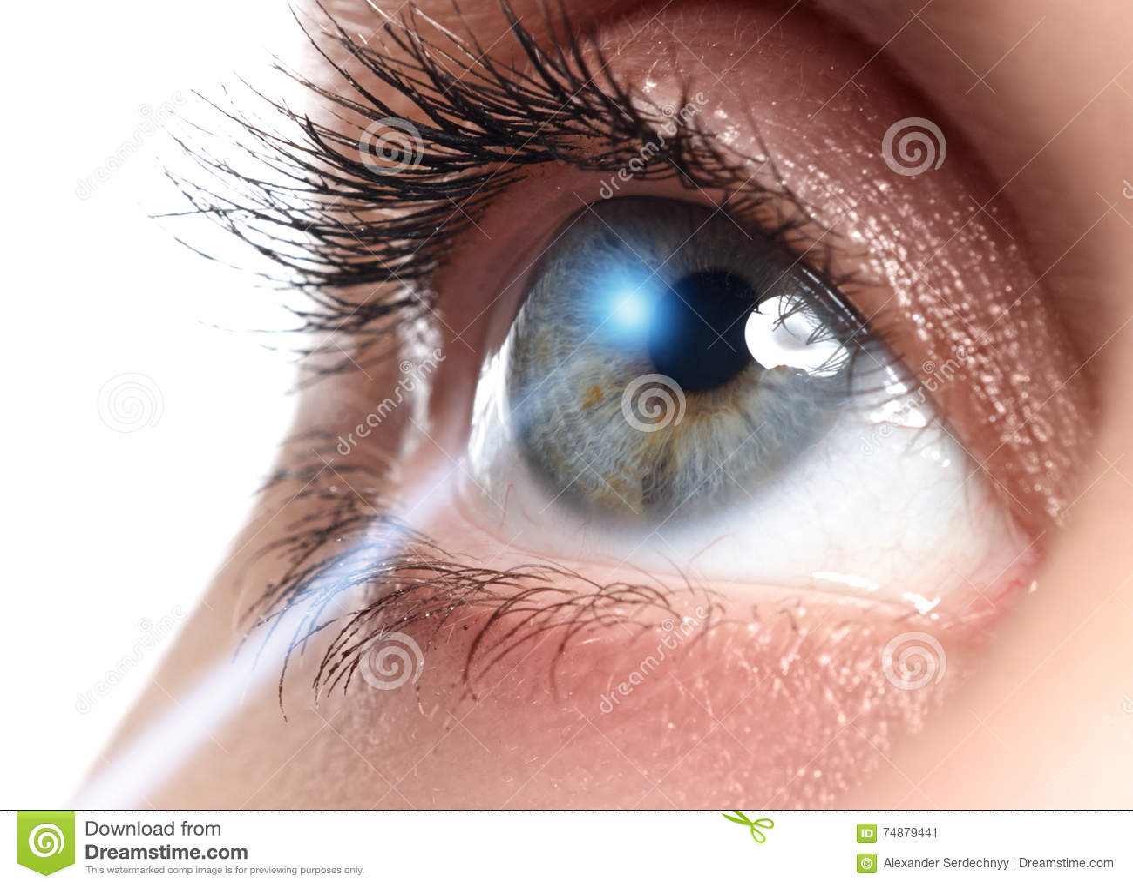 Correção da visão do laser Olho do ` s da mulher Olho humano Olhos azuis novos bonitos do olho da mulher?