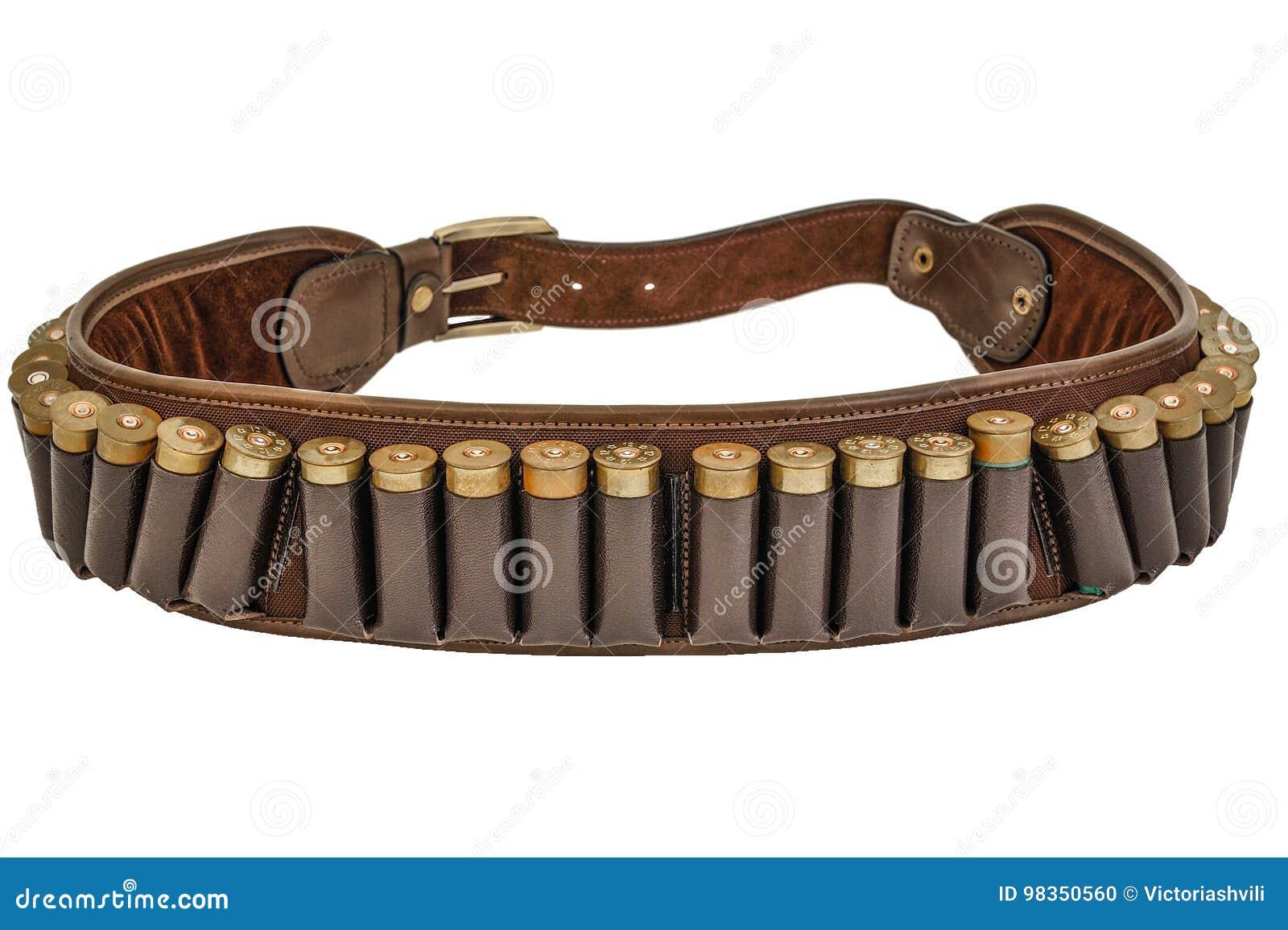 Correa y bandolera, cartuchos de la munición de la munición del rifle del cazador dentro Aislado Brown cubre con cuero, los jefes