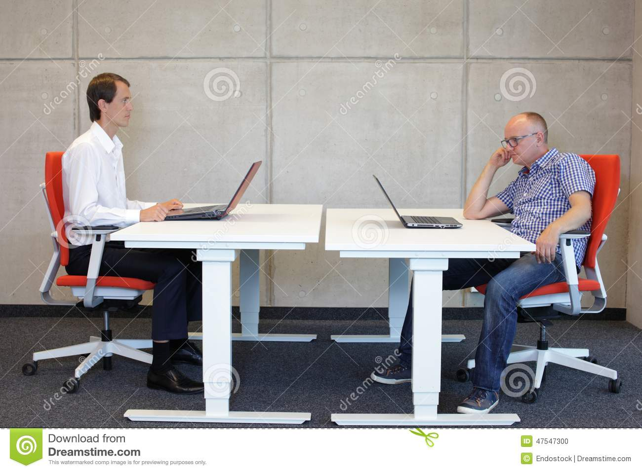 Correct And Bad Sitting Position At Desk Stock Photo