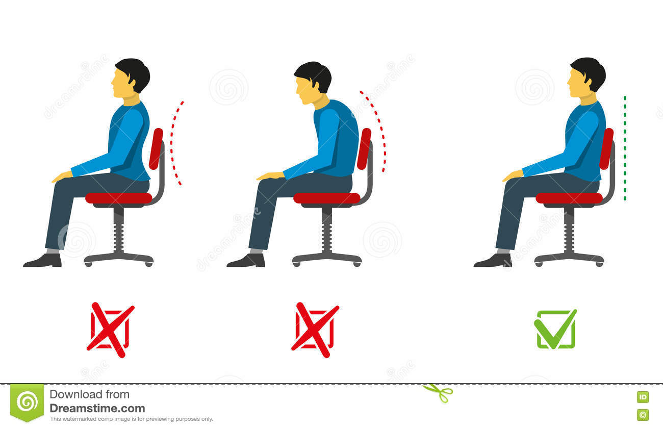 Correct And Bad Sitting Position. Vector Medical Infographics Stock ...