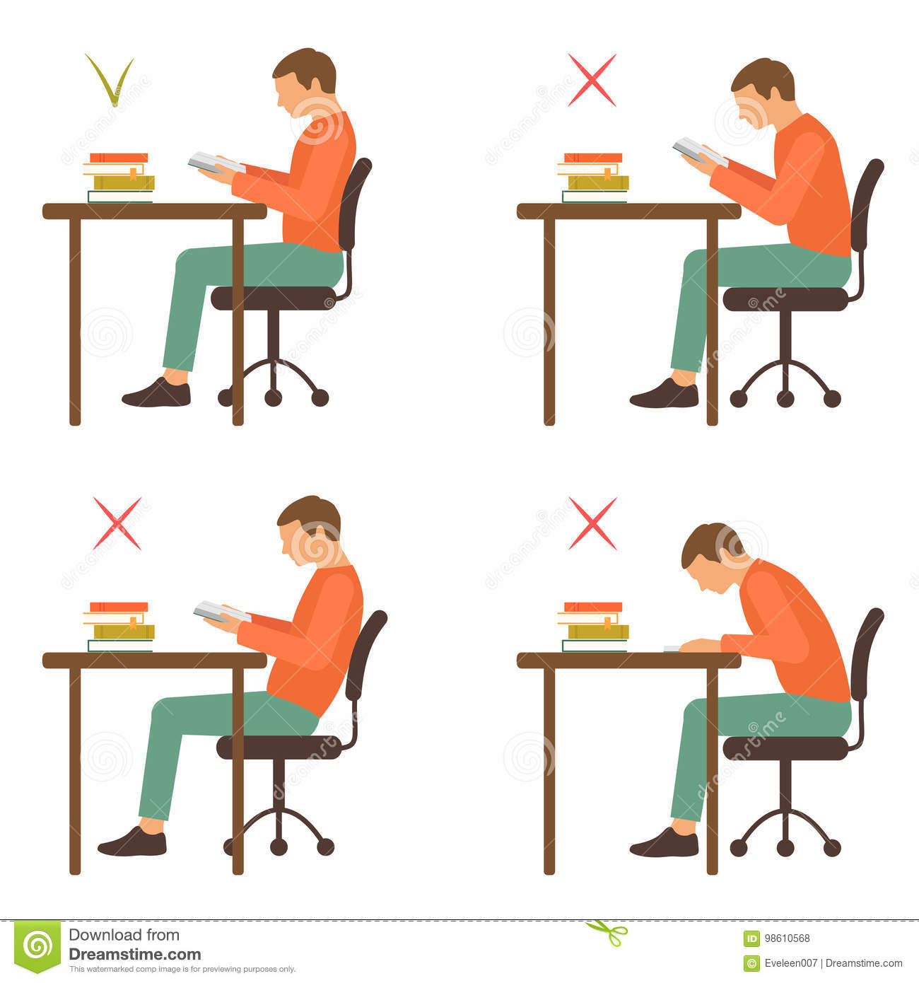 Ergonomic Reading Chair Correct And Incorrect Sitting Position Reading Stock