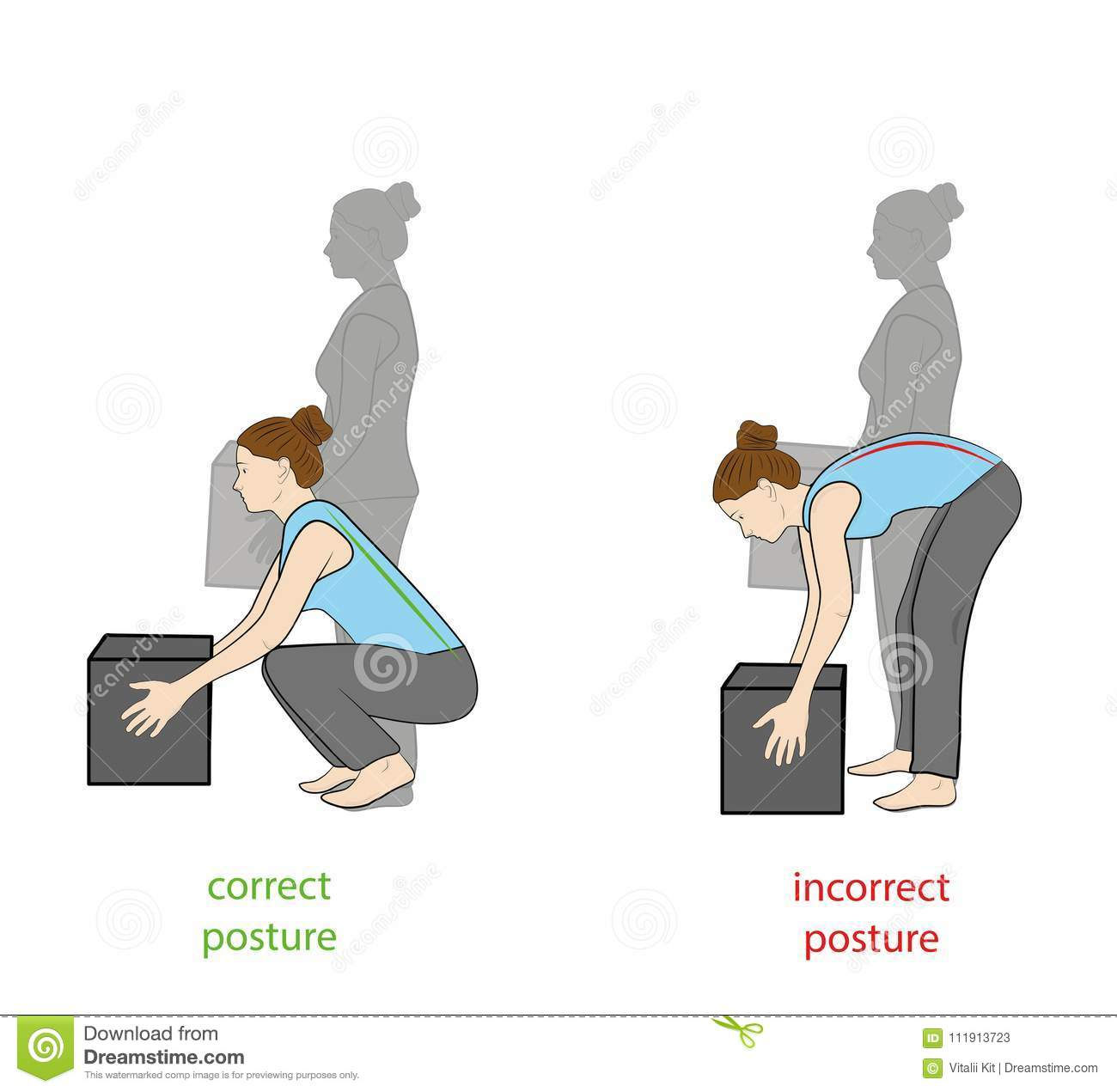 Correct Posture To Lift A Heavy Object Safely Illustration Of