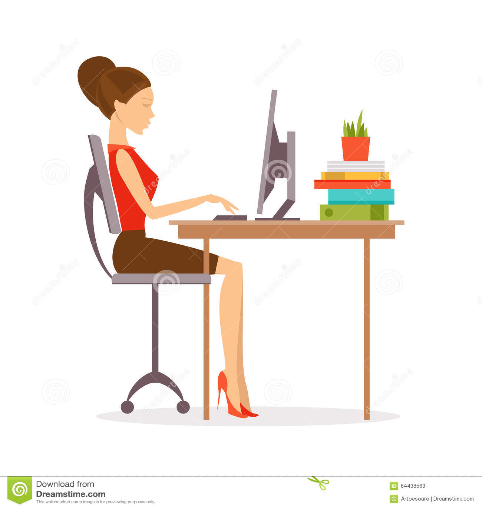 Correct Posture Vector Illustration Stock Vector Image