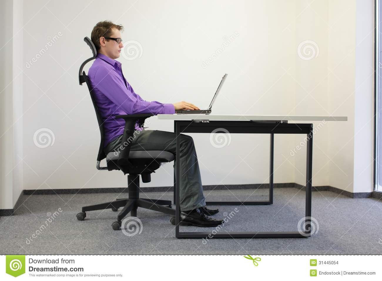 Correct Sitting Position At Laptop Stock Images - Image ...