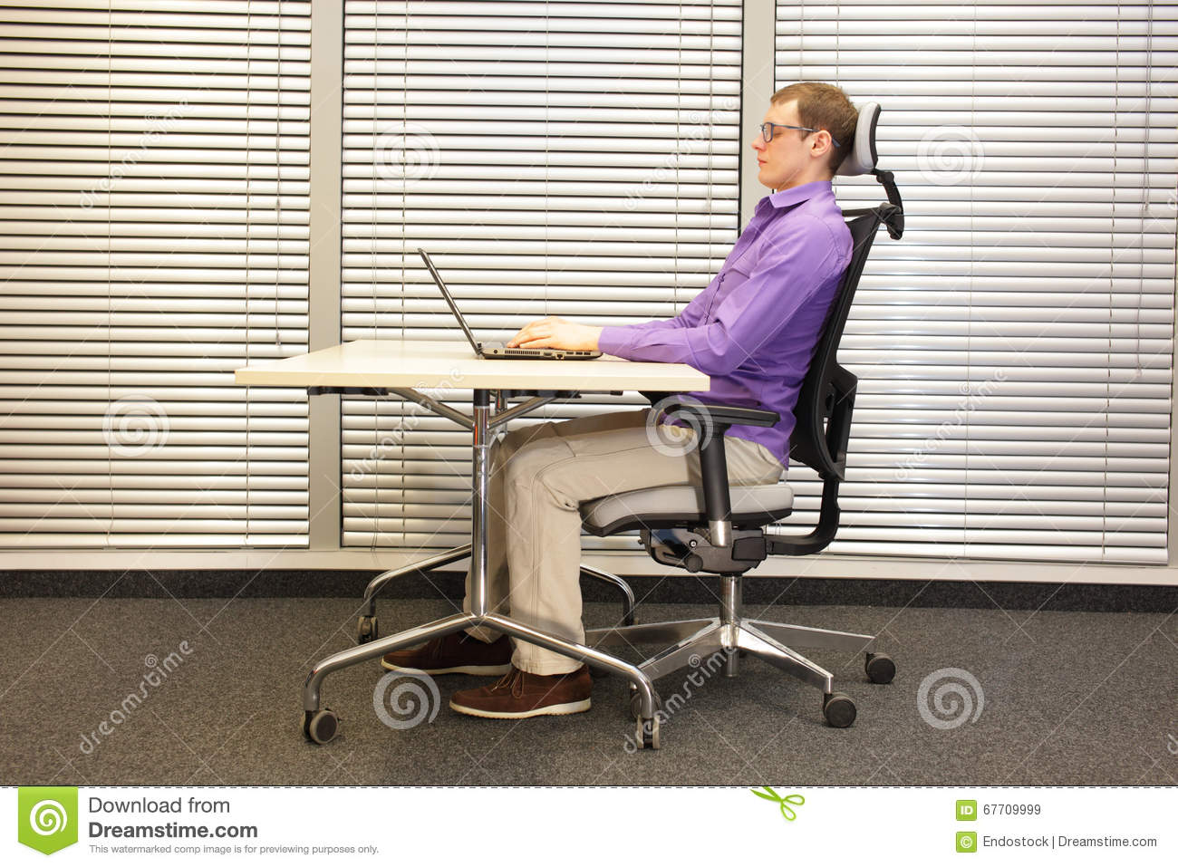 Correct Sitting Position At Workstation Man On Chair