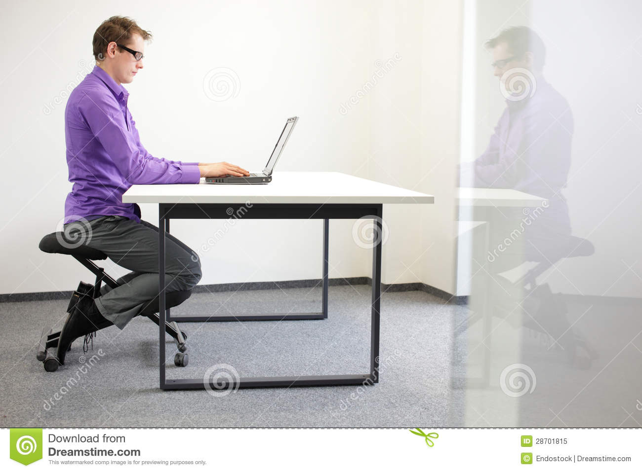 Correct sitting position at workstation royalty free stock for Sitting chairs