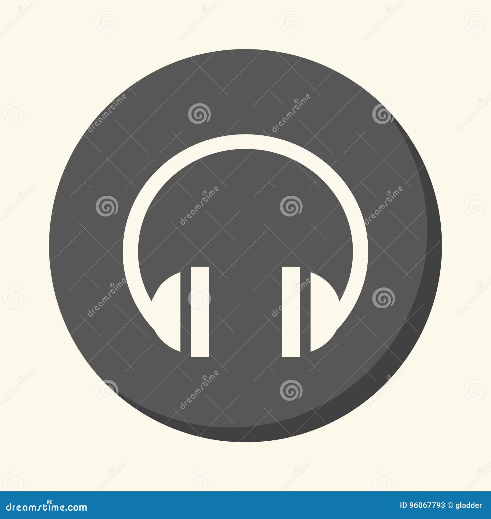 Correcte hoofdtelefoons, een rond pictogram met de illusie van volume, een eenvoudige kleurenverandering