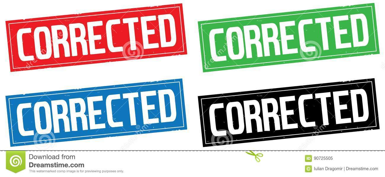 corrected text on rectangle stamp sign stock illustration