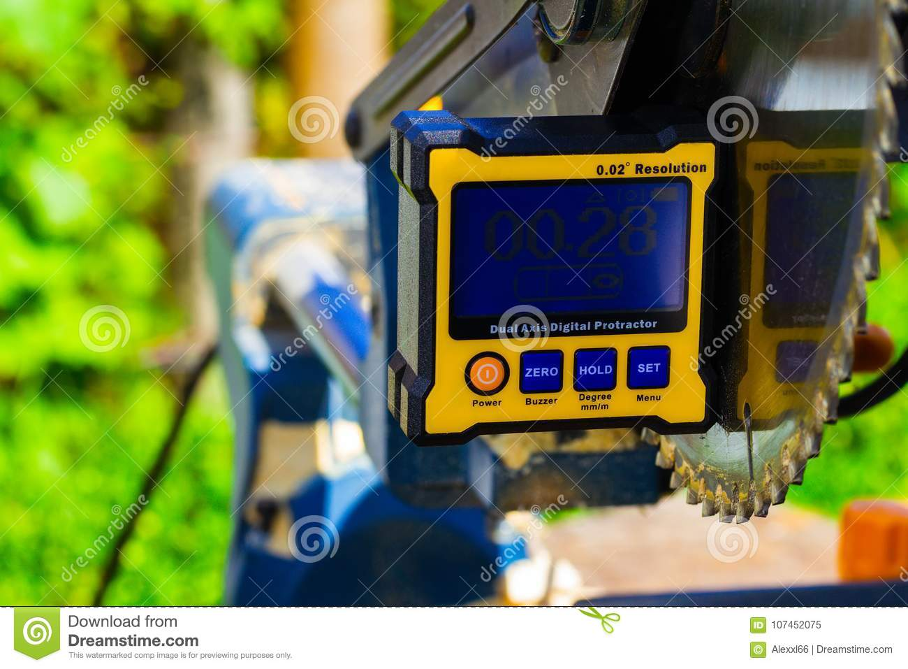 Digital protractor and circular saw blade stock image image of download digital protractor and circular saw blade stock image image of electronic circular greentooth Images