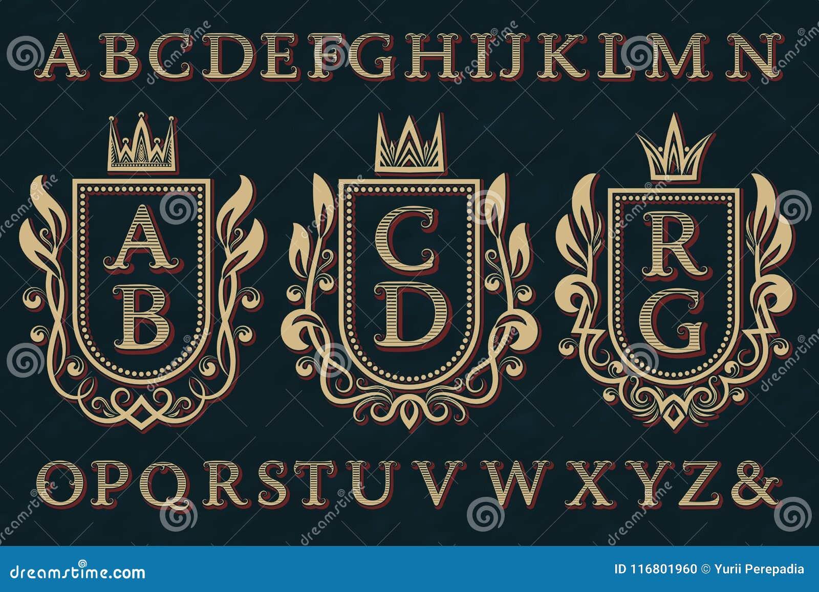 Corredo iniziale d annata del logos Strutture della stemma, lettere a strisce, alfabeto isolato