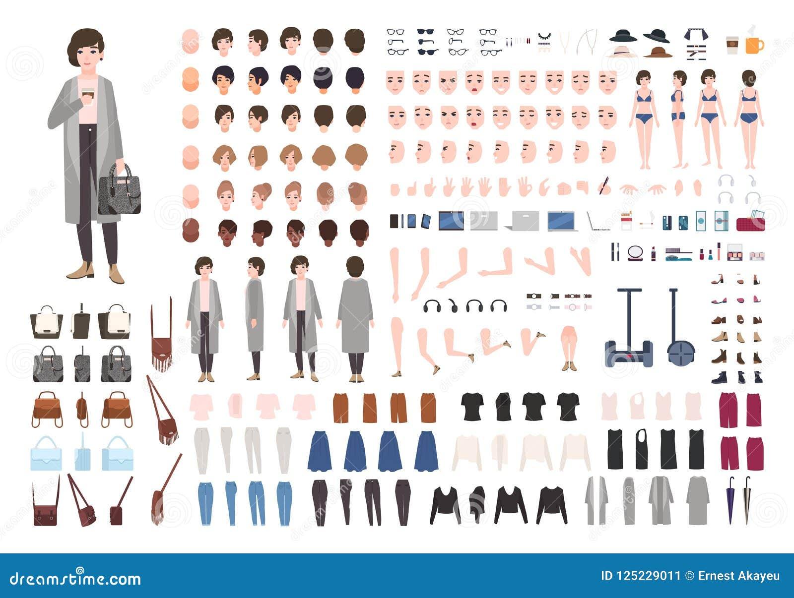 Corredo moderno di animazione dell yuppie o della giovane donna Raccolta delle parti del corpo femminili nelle posizioni differen