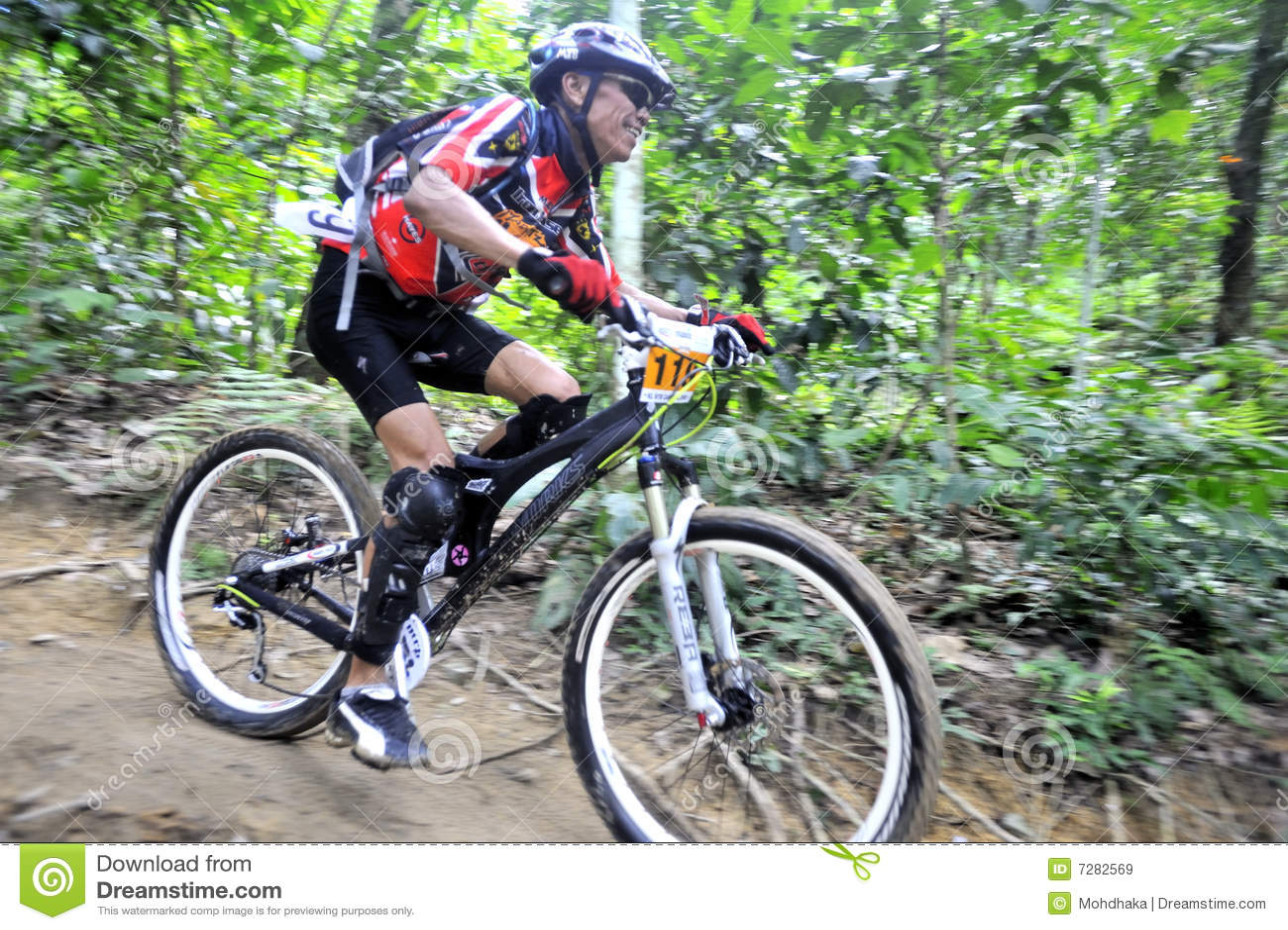 Corredor de la bici de montaña