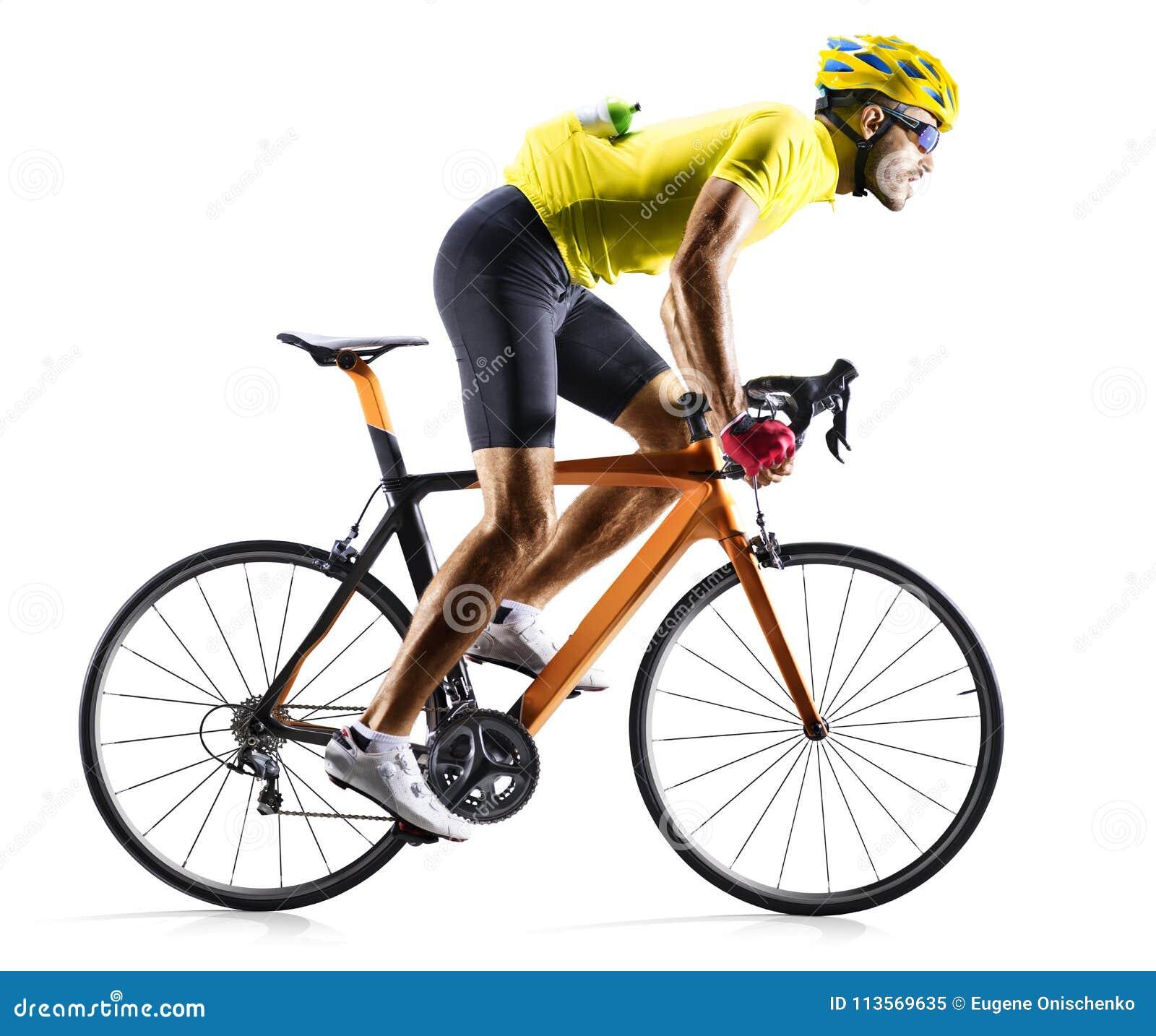 Corredor de la bicicleta del camino de Professinal aislado en blanco