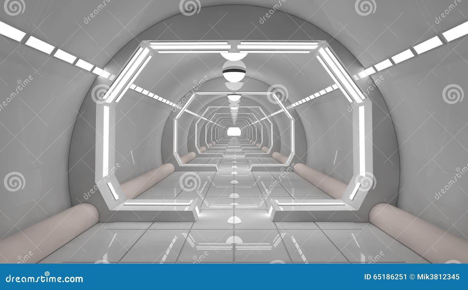 Corredor futurista do interior da nave espacial ilustra o for Interieur vaisseau spatial