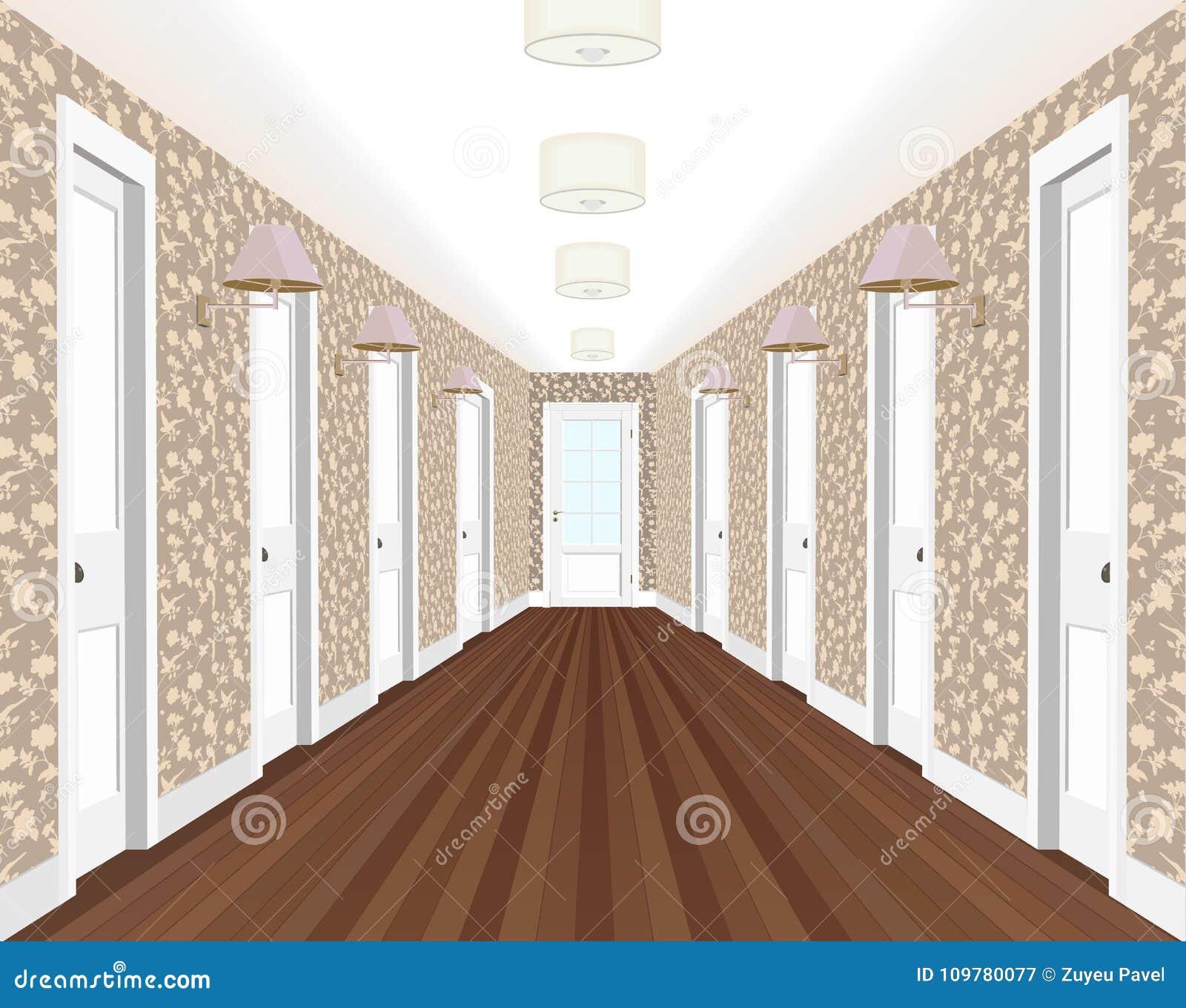 Corredor longo com fileiras de portas fechados Conceito de oportunidades infinitas para o sucesso e dureza da escolha 3d