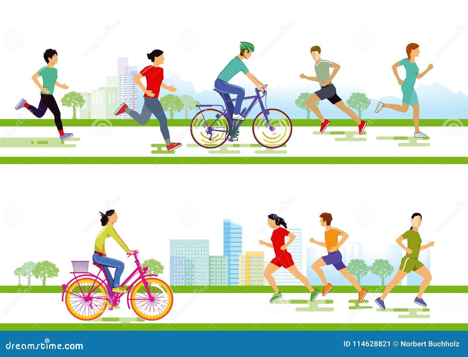 Corredores e ciclistas