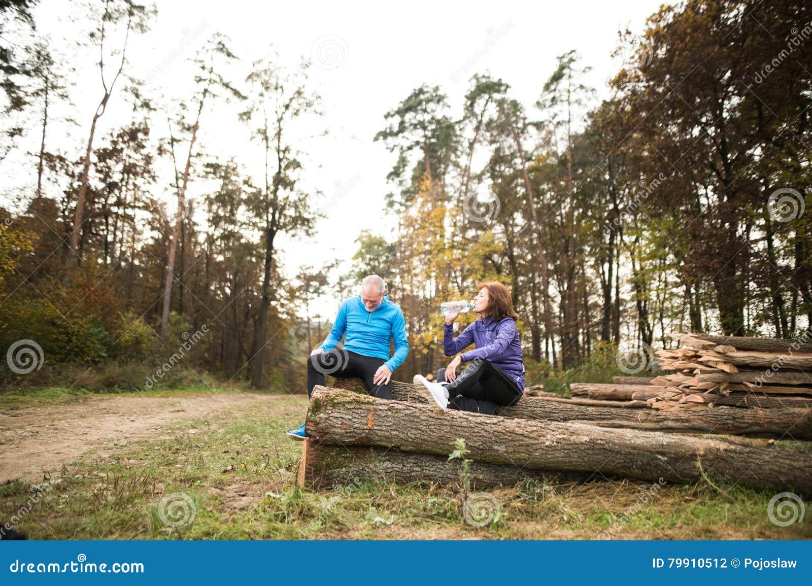 Corredores mayores que se sientan en registros de madera, descansando, agua potable