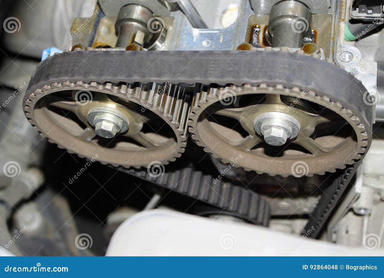 Correia cronometrando do motor em rodas denteadas do eixo de cames