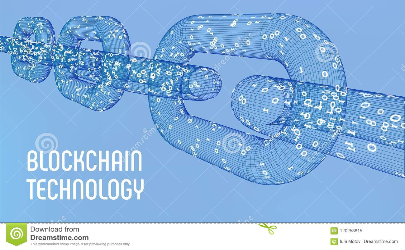 Corrente de bloco Moeda cripto Conceito de Blockchain corrente do wireframe 3D com código digital Molde editável de Cryptocurrenc