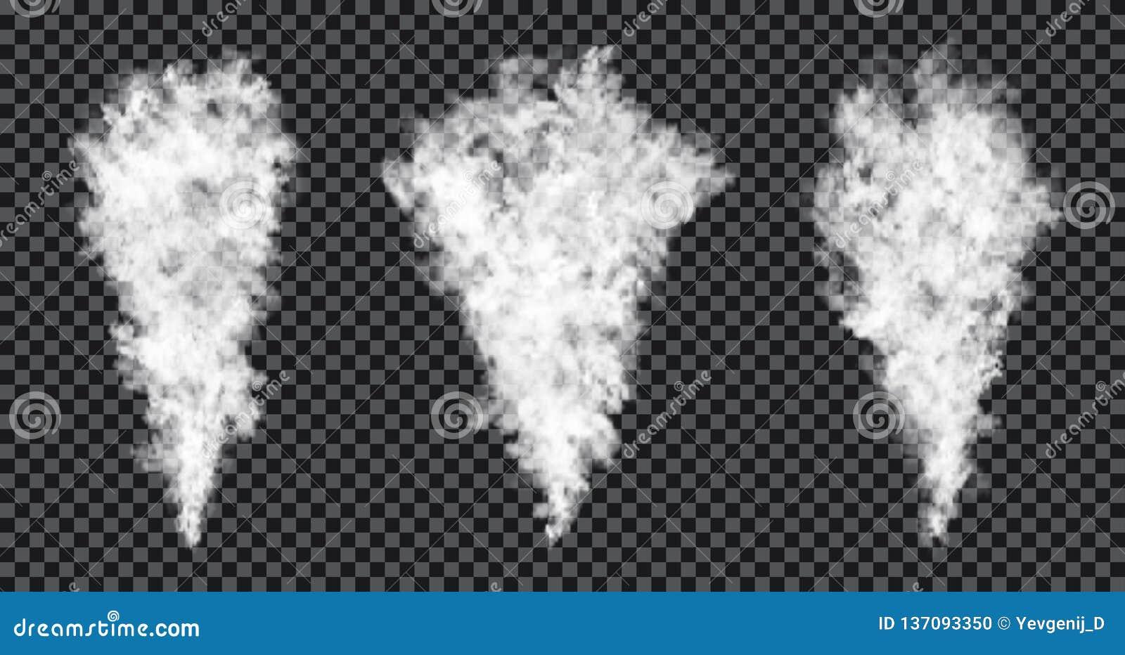 Corrente del fumo su fondo trasparente Effetto realistico di struttura, della nebbia o della foschia del fumo
