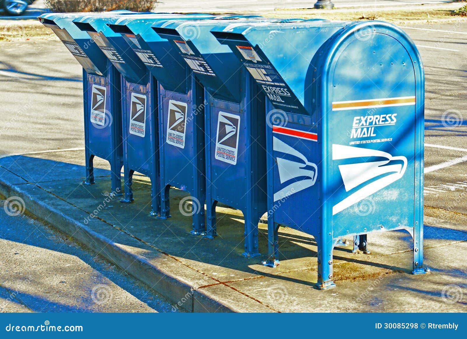 Fila de las cajas del descenso del correo de los E.E.U.U.