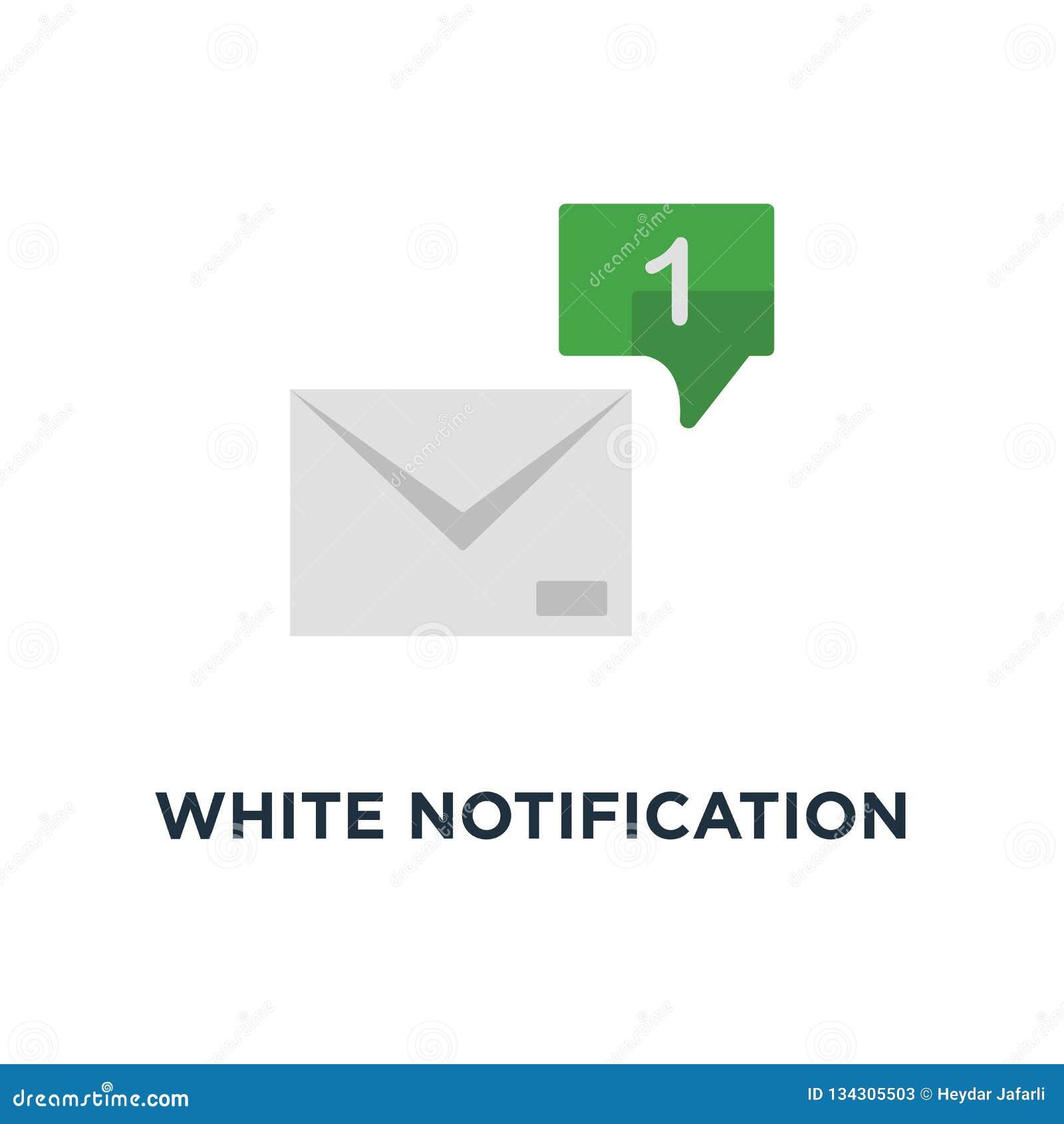Correo electrónico blanco de la notificación 1 con el icono de la burbuja del discurso, diseño gráfico del logotipo simple del ui