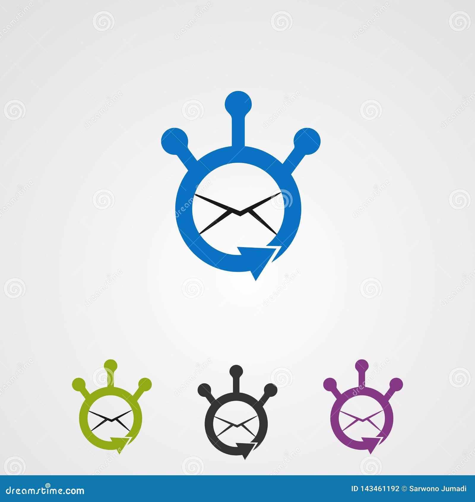 Correo electrónico de la parte con vector, el icono, el elemento, y la plantilla del logotipo del concepto del círculo para la co