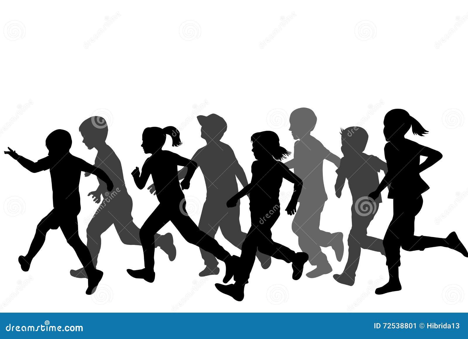 Disegno Di Bambino Che Corre : Correre delle siluette dei bambini illustrazione vettoriale
