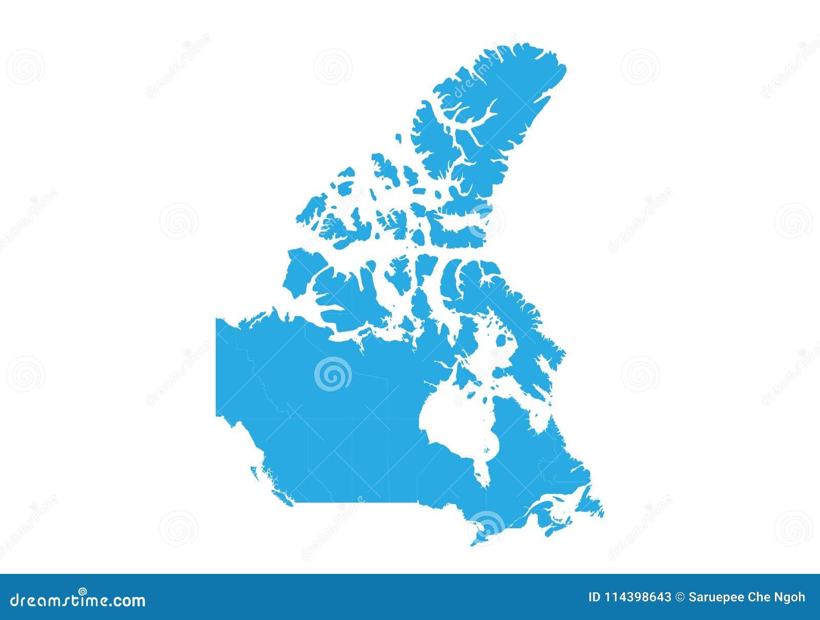 Correspondencia de Canadá Alto mapa detallado del vector - Canadá