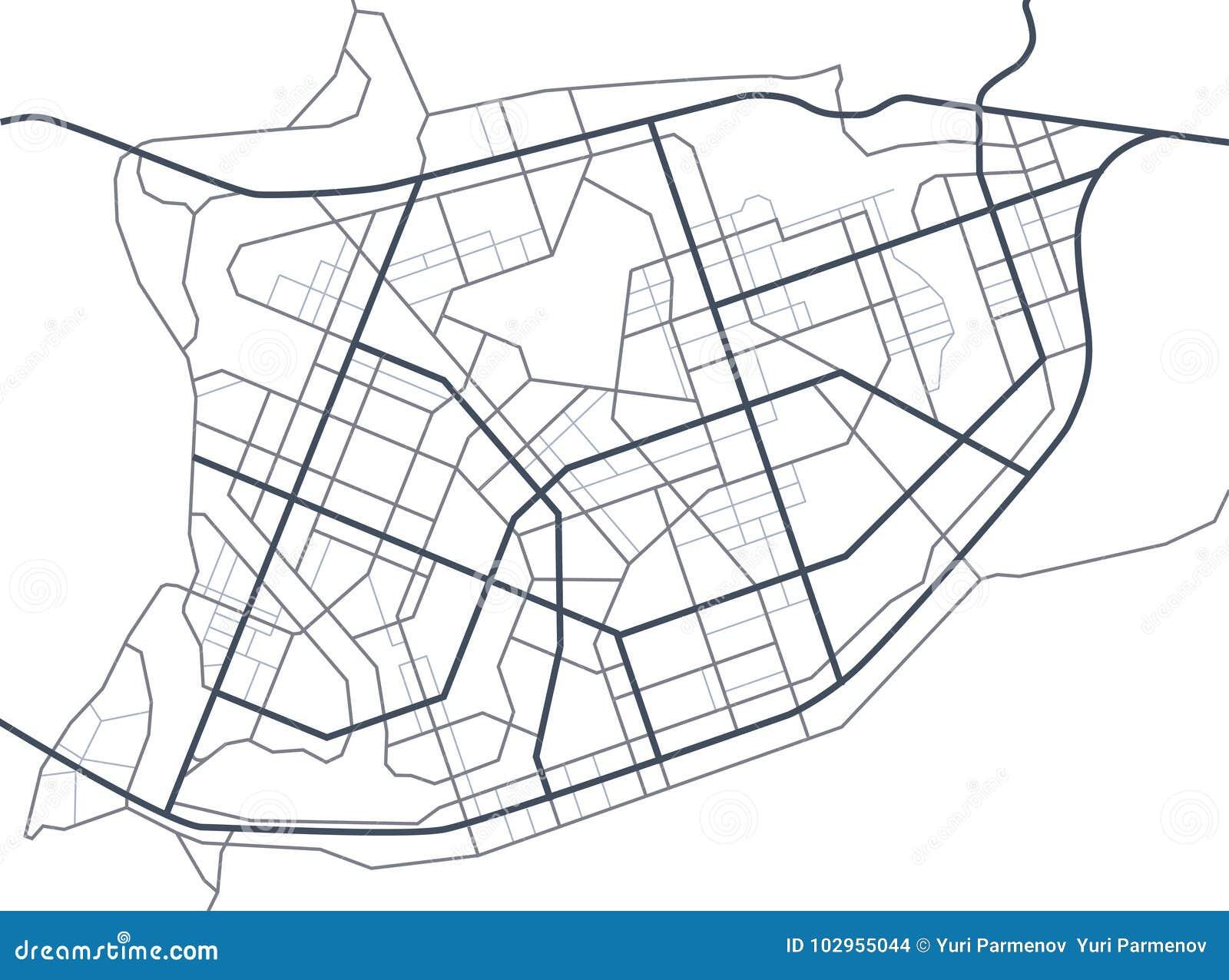 Correspondencia de la ciudad Línea esquema de caminos Calles de la ciudad en el plan Ambiente urbano, fondo arquitectónico Vector