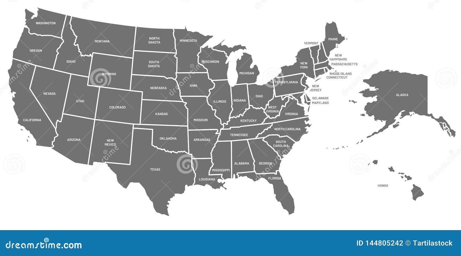 Correspondencia de los E Cartel de los Estados Unidos de Am?rica con nombres del estado Mapas americanos geogr?ficos incluyendo e