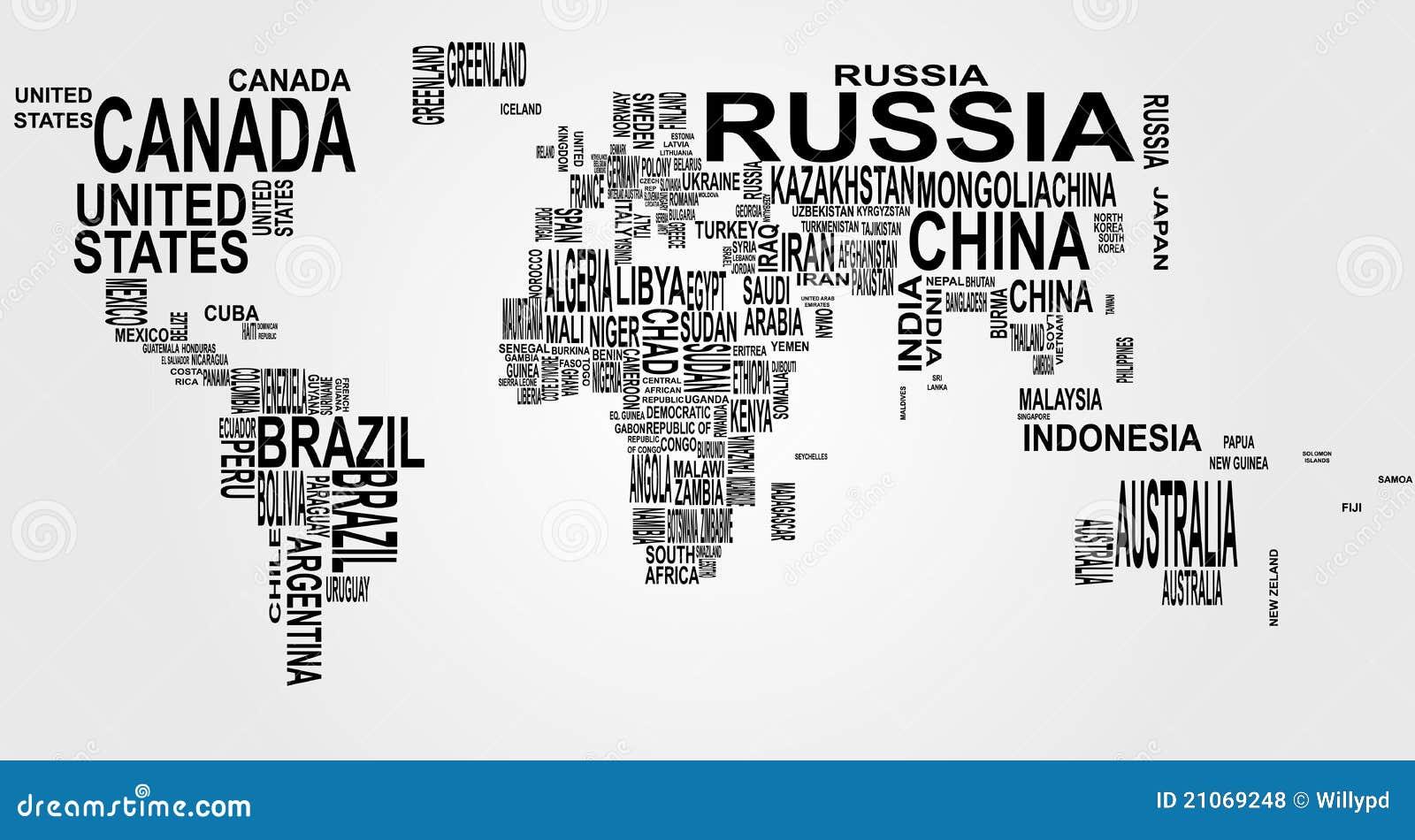 Correspondencia de mundo con nombre de país
