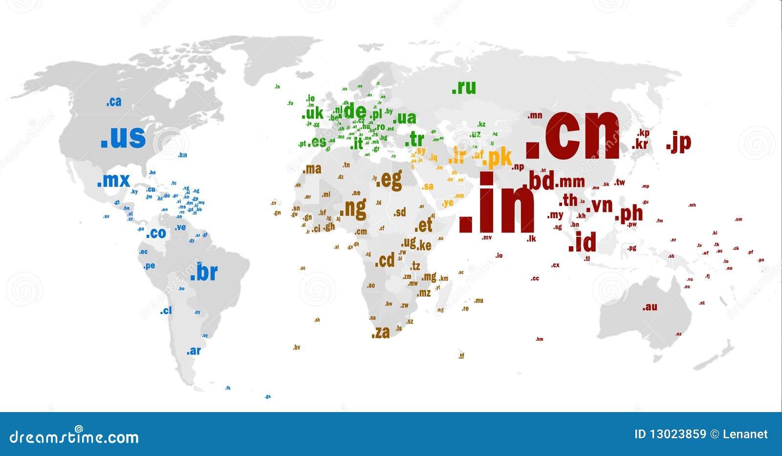 Correspondencia de mundo del dominio a nivel superior del código de país