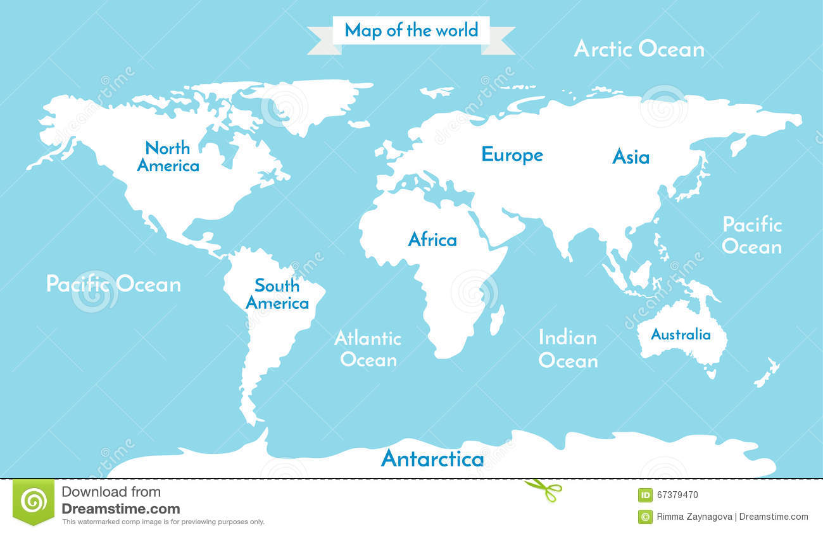 Correspondencia de mundo Vector el ejemplo con la inscripción de los océanos y de los continentes