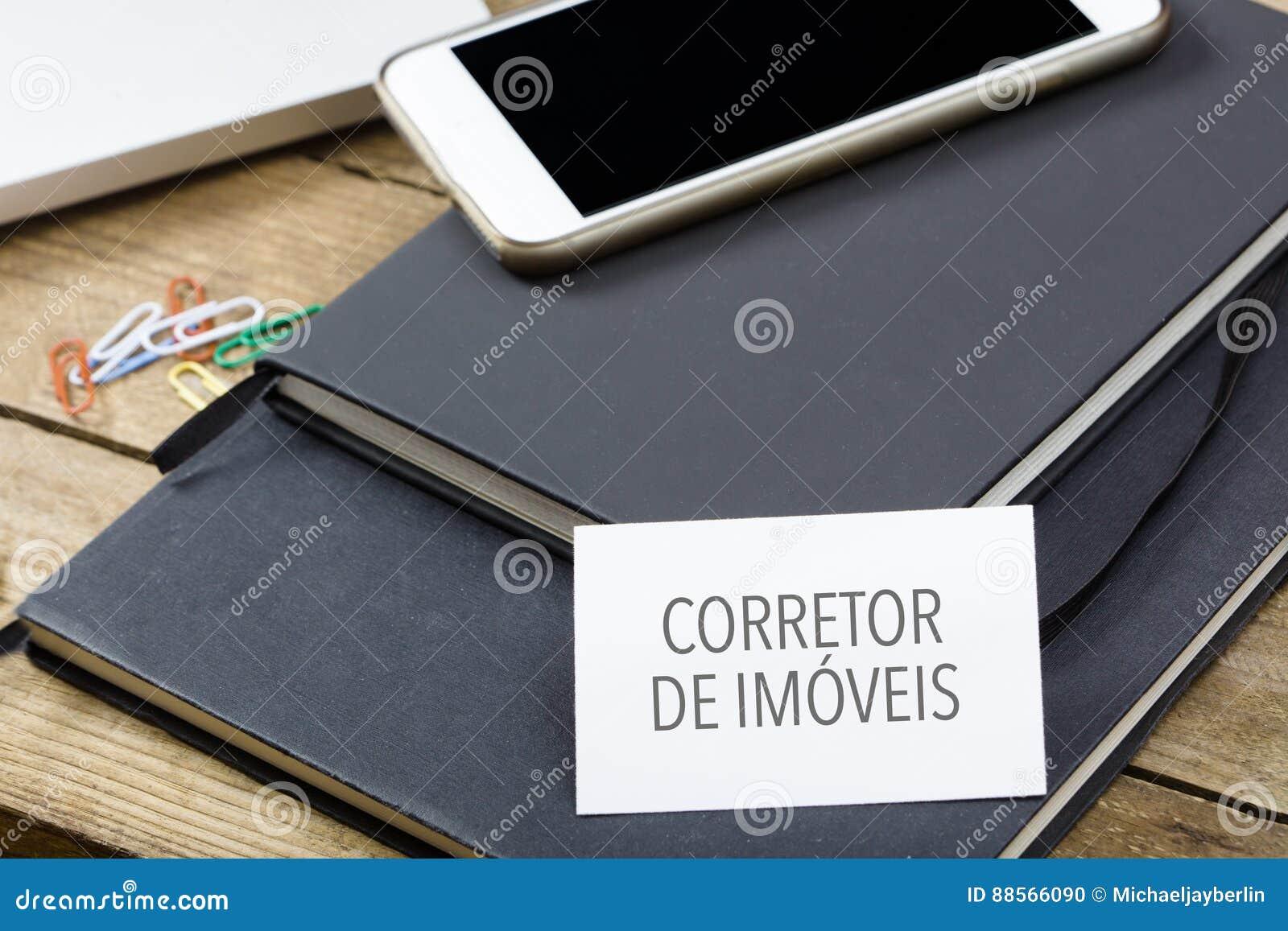 Corretor de imoveis texte portugais pour la carte de visite