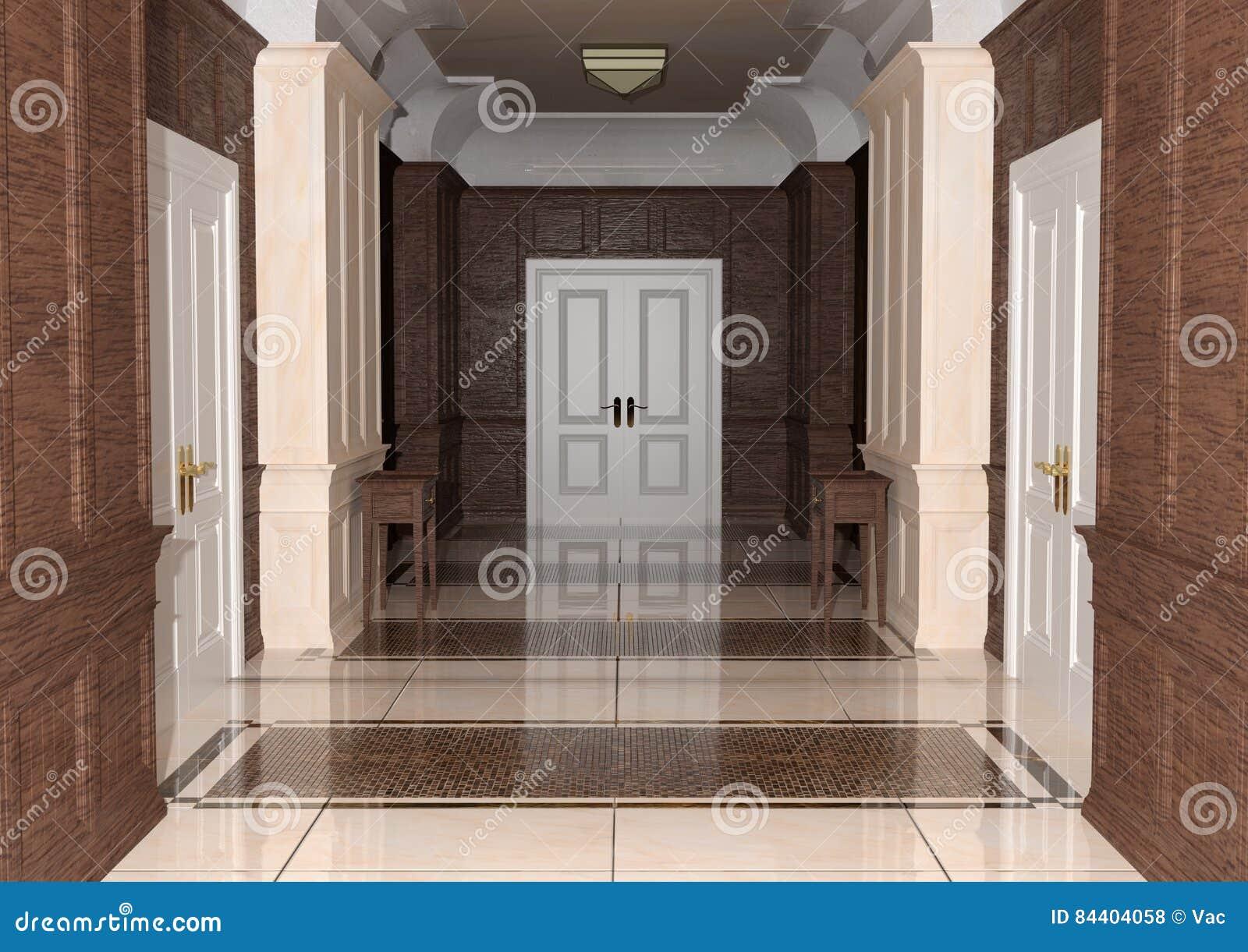 Corridoio dell hotel della rappresentazione 3D