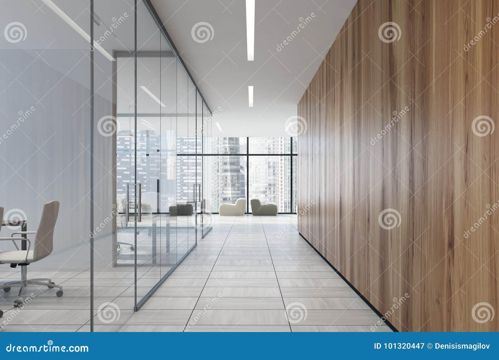 Ufficio Legno E Vetro : Corridoio di vetro e di legno dellufficio illustrazione di stock